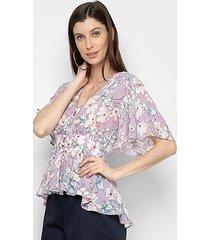 blusa lemise manga curta floral babados feminina