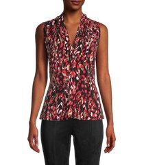 calvin klein women's abstract-print blouse - red multicolor - size m