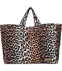 leopard cotton tote