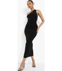 neon midaxi jurk met eén blote schouder en uitsnijding, black