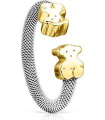 anillo tous mesh gris - dorado 814835000