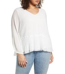 plus size women's single thread pleated v-neck blouse