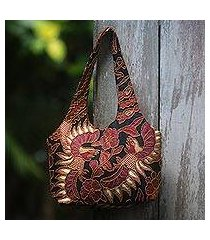 beaded cotton batik shoulder bag, 'black sawunggaling' (indonesia)