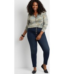 maurices plus size womens high rise dark wash button fly jegging made with repreve blue