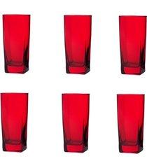 conjunto de copos bali vermelho 320ml - com 6 peças - casa linda