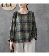 zanzea mujer de manga larga de cuello redondo tela escocesa comprobar tapas de la camisa de gran tamaño retro de la blusa -verde