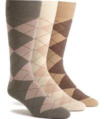 men's polo ralph lauren 3-pack argyle socks, size one size - beige