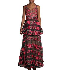 floral-embroidered v-neck gown