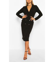 midi blazer jurk, zwart