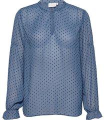 blouse w. elastic at sleeve blus långärmad blå coster copenhagen