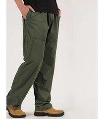 algodón holgado para hombre carga casual de trabajo de pierna recta pantalones
