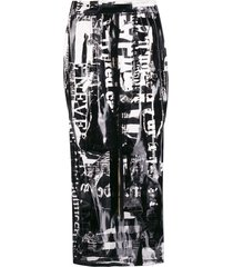 balmain all-over print fitted skirt - black