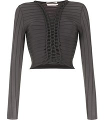 dion lee braided panel top - grey