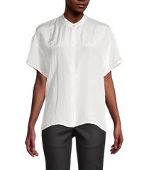 eileen fisher women's silk & organic cotton top - ivory - size l