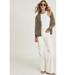 reiss kate - linen blend fine knit cardigan in khaki, womens, size xl