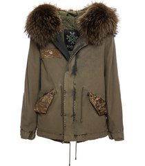 loden army jazzy mini parka with fur