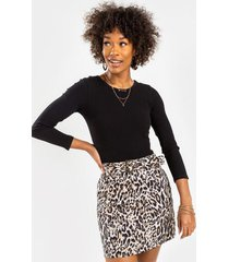 monet leopard belted mini skirt - black