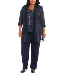 r & m richards plus size 3-pc. metallic jacket, metallic necklace top & pants set