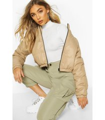 cropped panelled puffer bomber jacket, stone