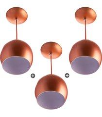 kit 3 lustres pendente bola mã©dia alumãnio 23cm cobre - cobre - dafiti