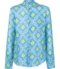 peninsula swimwear positano printed shirt - blue