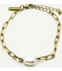 pulsera perla dorado humana