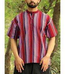 incerun hombre vendimia manga corta kurta a rayas camisa