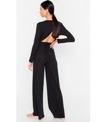 womens give it a tie wide-leg pants lounge set - black