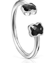 anillo tous mini onix abierto de plata con ónix 918455510