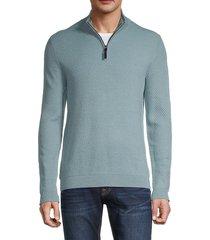 ted baker men's textured quarter-zip sweater - blue - size 4 (l)