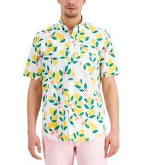 club room men's lemon print linen-blend short sleeve shirt, created for macy's