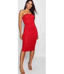 bandeau bodycon midi dress, red