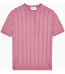 mens rose pink vertical stitch knitted t-shirt