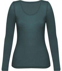 enna, biologisch zijden shirt met lange mouwen, smaragd 40/42