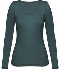 enna, biologisch zijden shirt met lange mouwen, smaragd 36/38