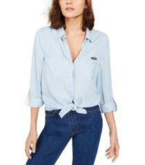 calvin klein jeans tencel split-back button-down shirt