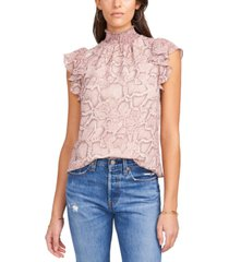 1.state flutter-sleeve animal printed blouse