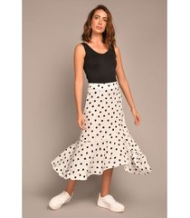 falda larga ajuste cintura asimétrica polka dots