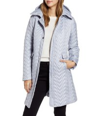 women's via spiga chevron quilted water resistant coat, size large - ivory