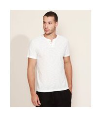 camiseta masculina básica manga curta gola portuguesa off white