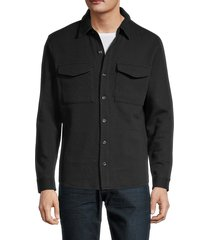 vince men's spread-collar cotton-blend jacket - black - size xl