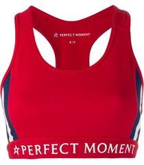 perfect moment top esportivo com decote nadador - vermelho