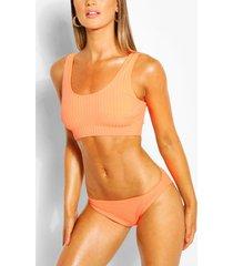 ribbed crop bikini, orange