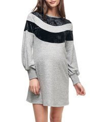 women's maternal america velvet stripe maternity sweater dress, size large - grey