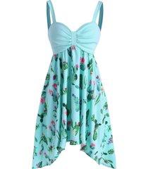 cactus print empire waist asymmetrical cami dress