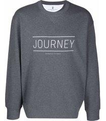 brunello cucinelli grey cotton blend sweatshirt