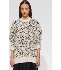 proenza schouler graphic jacquard sweater ecru/white/black/neutrals xs