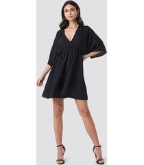 na-kd party dolman sleeve wrap front dress - black