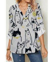camicetta da donna con stampa animalier con scollo a v a maniche lunghe