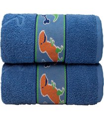 jogo 2 toalhas banho infantil algodã£o desenhos camesa 70x130 azul - azul - dafiti
